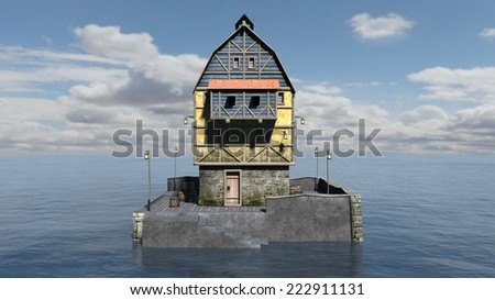 House on the Ocean surrounded by Water - stock photo