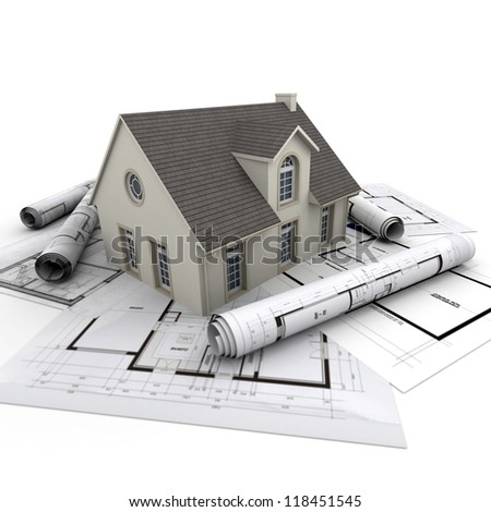 House on top of architect blueprints - stock photo