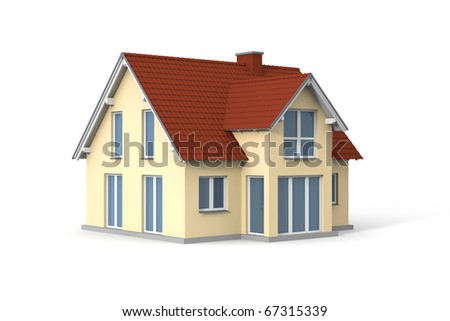 House on white background. Computer generated picture. - stock photo