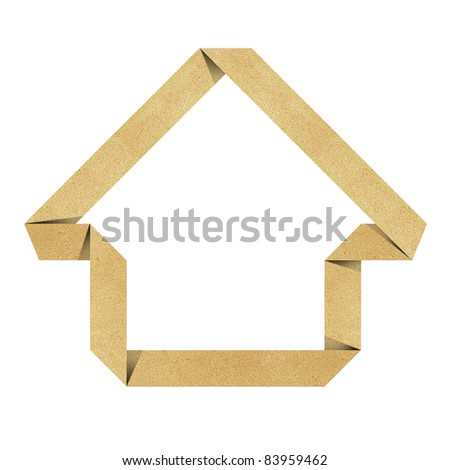 House origami recycled papercraft background - stock photo