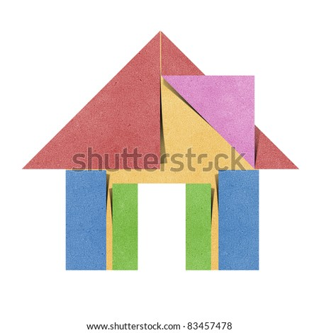 House origami recycled papercraft on white background - stock photo