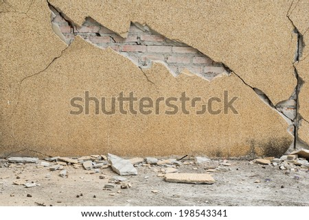 house partially collapsed after destruction  - stock photo
