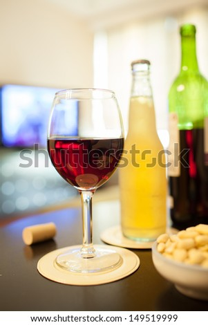 House party. Various alcoholic drink. - stock photo
