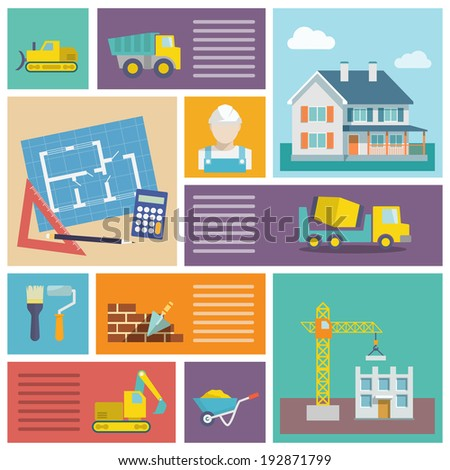House plan and building construction icons set with tools trowel lorry isolated  illustration - stock photo