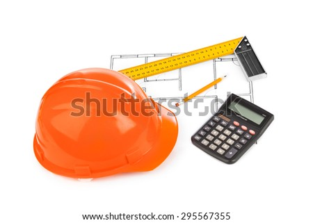 House plan and helmet - construction background - stock photo