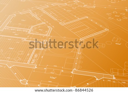 house plan: architectural blueprint. Bitmap copy my vector 42267370 - stock photo