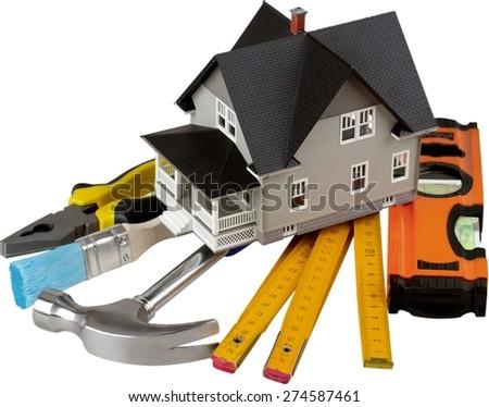 House, Plan, Blueprint. - stock photo