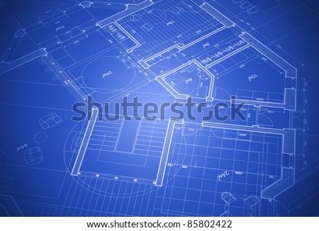 house plan - blueprint. Bitmap copy my vector ID 64266391