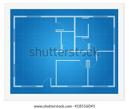 house plan blueprint illustration. - stock photo