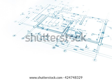 house plan blueprint, technical drawing, part of architectural project - stock photo
