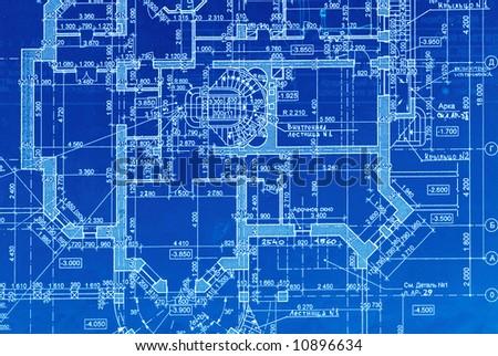 House plan blueprints close up - stock photo