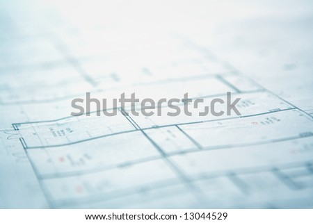House plan blueprints close up shallow DOF photo with space for your text