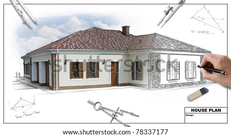 House plan blueprints 2, designer's hand - stock photo
