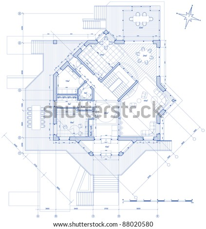 house plan: vector blueprint. Bitmap copy my vector ID 14377873 - stock photo