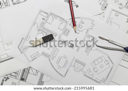 House Plans - stock photo