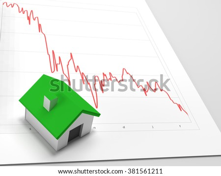 House price drop shown with house including chart with declining values. - stock photo