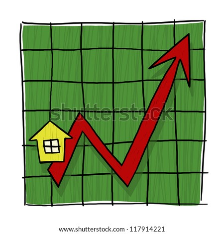 House Prices Going Up Illustrated Graph; Home Prices Graph; Real estate prices going up - stock photo