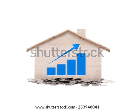 House prices graph with money on white background