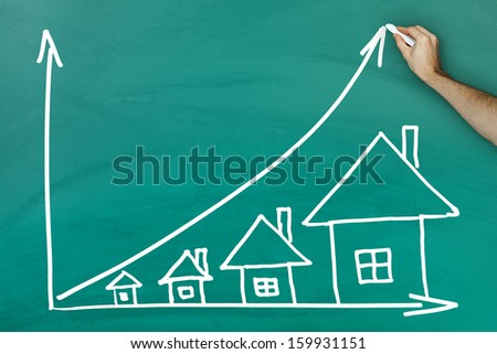 House prices growth concept on green blackboard - stock photo