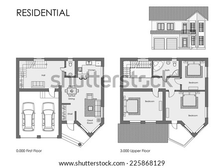 House project architectural drawing isolated on white - stock photo