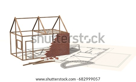 House project house under construction on stock illustration house project house under construction on blueprint project for construction industry 3d render malvernweather Gallery