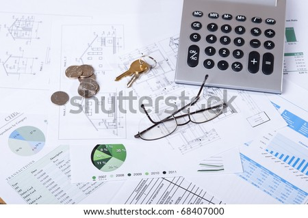House purchase on credit. The concept of calculation of the finance - stock photo