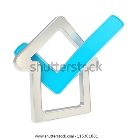 House rating: checked house glossy chrome metal emblem with blue yes tick icon inside isolated on white background - stock photo