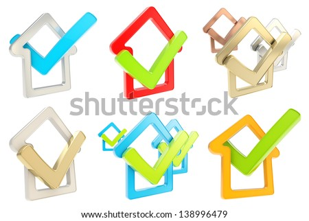 House rating: checked house glossy emblem with yes tick icon inside, isolated on white background, set of six - stock photo