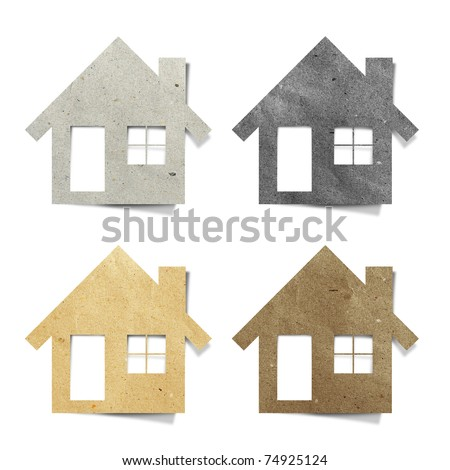 house recycled paper stick on white background - stock photo