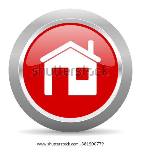house red chrome web circle glossy icon - stock photo