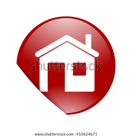 house red circle glossy web icon - stock photo