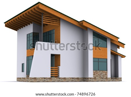 house rendering on white background - stock photo
