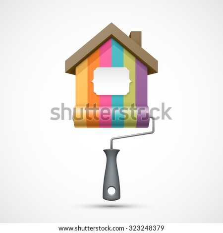 House renovation icon. Painting services icon. Colorful paint roller with house and banner for you text - stock photo