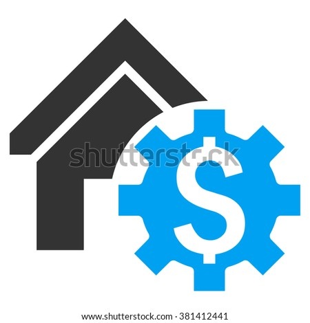 House Rent Options glyph icon. Style is bicolor flat symbol, blue and gray colors, white background. - stock photo