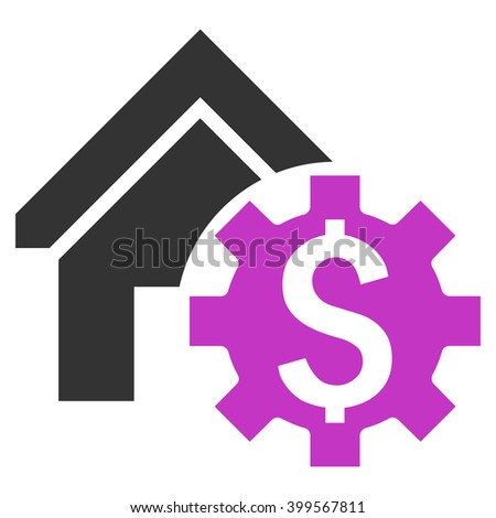 House Rent Options glyph icon. Style is flat symbol, violet color, white background. - stock photo