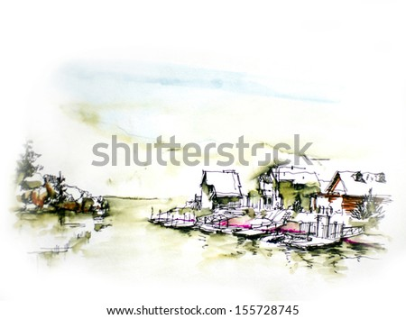 House resort by the lake in mountain illustration.Vacation house or holiday resort by the lake in the mountain water color illustration - stock photo