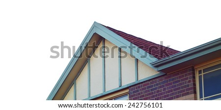 house roof details isolated on white - stock photo