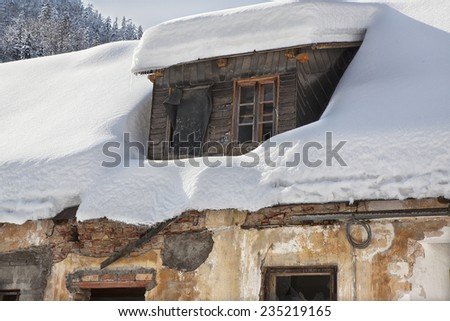 House roof loaded with snow