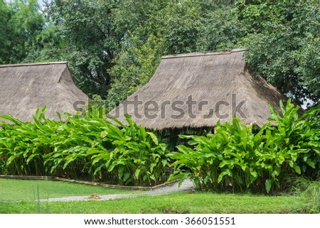 House roof thatched roof,Ancient traditional ukrainian rural barn with a straw roof - stock photo