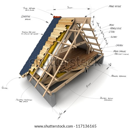 House roofing technical details - stock photo