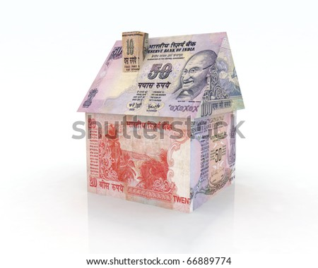 house rupee banknotes 3d illustration - stock photo