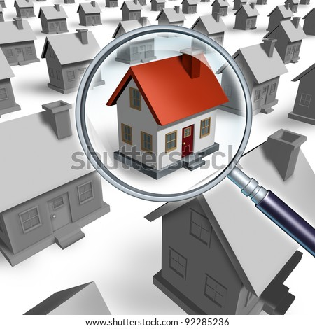 House search and house hunting for real estate in a good neighborhood for sale  that need to be inspected by a home inspector for quality control as a concept with a magnifying glass. - stock photo