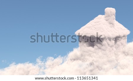 House shape clouds, isolated on white background - stock photo