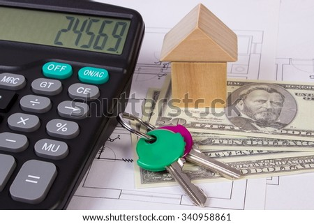 House shape made of wooden blocks, home keys, currencies dollar and calculator on electrical construction drawings of house, calculation of cost building house - stock photo