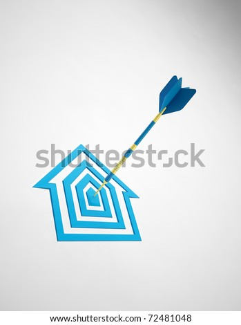 House shaped dartboard - Real estate concept - stock photo