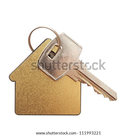 House shaped key chain isolated on white background - stock photo