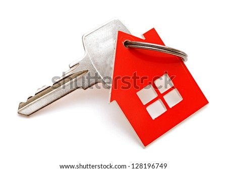 House shaped key-chain isolated on white background - stock photo