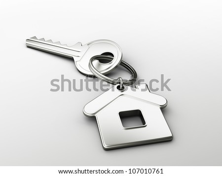 House shaped key chain with blank tag - stock photo