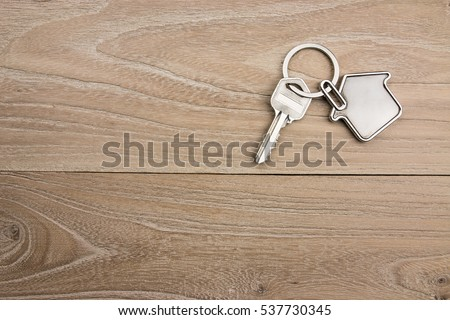 House-shaped key in the wood