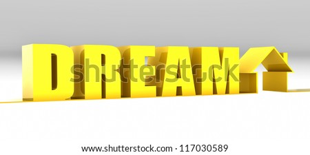 House shaped line with yellow dream text in perspective. Can be used for the property and rent catalog / Dream House background - stock photo